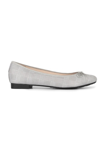 MAUD FRIZON grey Checked Fabric Print With Bow Ballerina F229FSH9886490GS_1
