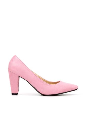KissXXX 粉紅色 久走不累厚粗跟美腿效果8CM尖頭高跟鞋 KI603SH09MSGTW_1