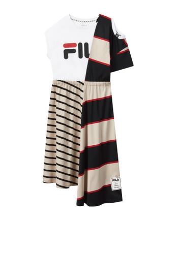 FILA beige FILA × Maison MIHARA YASUHIRO Colour Blocks Cut-off Shoulder Cotton Dress With Asymmetric Hem 2F801AAA581972GS_1