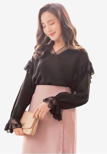 YOCO black Lace Ruffles Blouse 0AD47AA97BD014GS_1