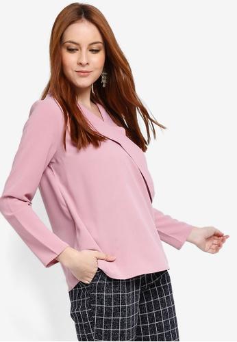 Zalia pink Wrap Lapel Blouse 540B7AAA3EFE91GS_1