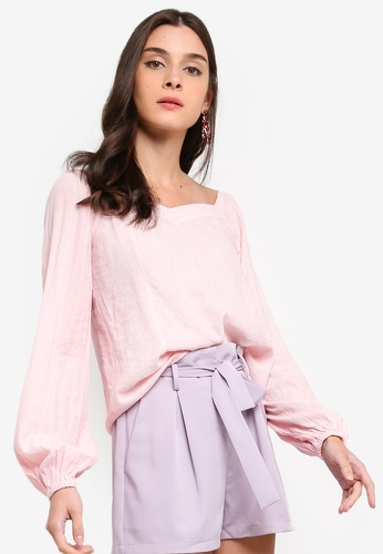 ZALORA 粉紅色 Sweetheart Puffed Sleeves Top F7F2BAA81A49CDGS_1