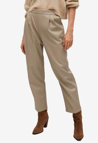 Mango grey Darts Faux-Leather Trousers 94BB5AAFE290C6GS_1