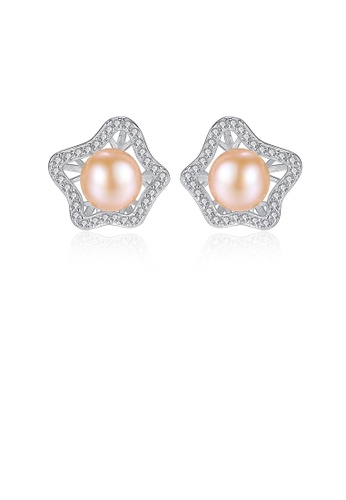 Glamorousky white 925 Sterling Silver Fashion and Elegant Hollow Flower Earrings with Pink Freshwater Pearls and Cubic Zirconia ED612ACC0E11EEGS_1