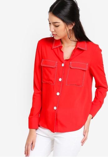 ZALORA red Contrast Thread Shirt 0F058AA5D641E8GS_1