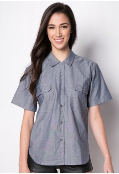 Cropped Chambray Polo Top