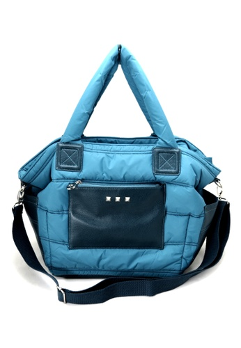Esther Accessories blue Light Nylon Quilted Shopper With Removable Shoulder Strap ES153AC42FRTHK_1