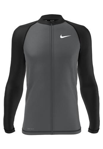 Nike black and grey Nike Swim Men's Long Sleeve Hydroguard - Black/Grey 78F1FUSD2B74E3GS_1