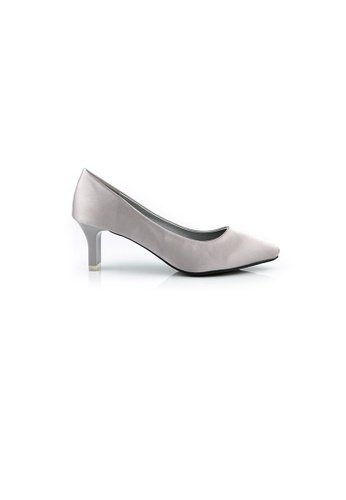 SHINE white Blade Heel Silk Pumps SH554SH0GVJ8SG_1