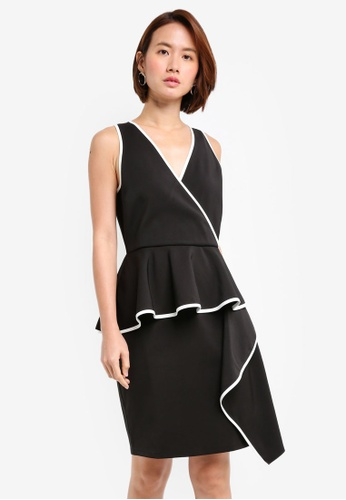 ZALORA black Cascade Peplum Dress With Contrast Binding 14135AACADB532GS_1