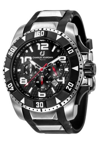 Charles Jourdan black Charles Jourdan Men CJ1026-1335C Black Silicone Watch 27C0CAC8081A38GS_1