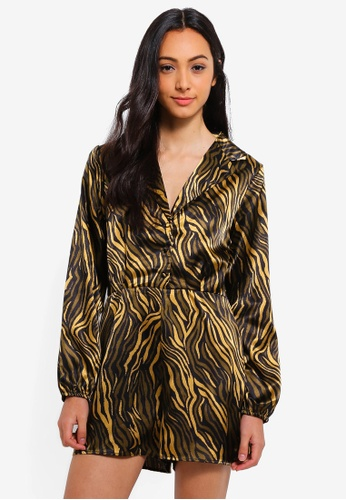 Cotton On black and brown Woven Alexis Long Sleeved Playsuit 987D0AA9118AB0GS_1