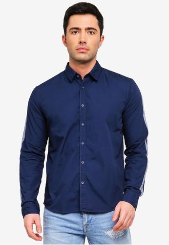 ESPRIT 海軍藍色 長袖襯衫 D4B66AA50E3550GS_1
