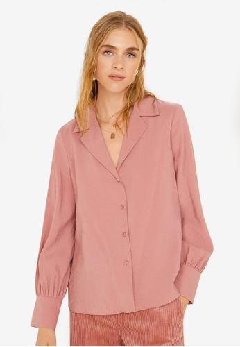 Mango pink Textured Flowy Blouse 402C6AA93C25D6GS_1