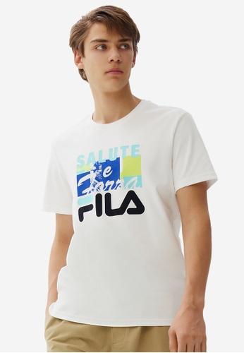FILA white FILA Logo Theme Printed Cotton T-shirt F3437AA5B54944GS_1