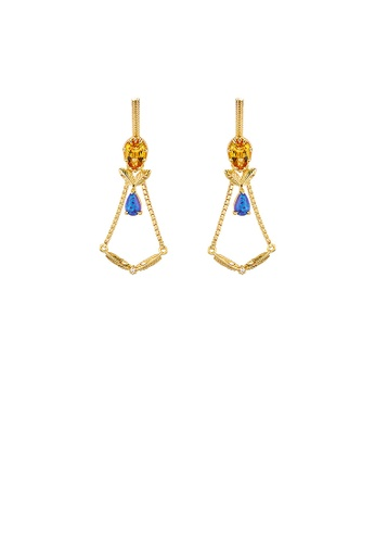 Glamorousky blue 925 Sterling Silver Plated Gold Light Luxury Palace Style Leaf Geometric Earrings with Cubic Zirconia E9173AC0E2B6FFGS_1