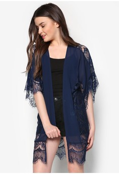 Love Lace Panelling Kimono