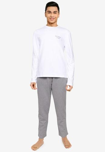 Trendyol grey Stripes Pyjama Set 424DAAA1709980GS_1