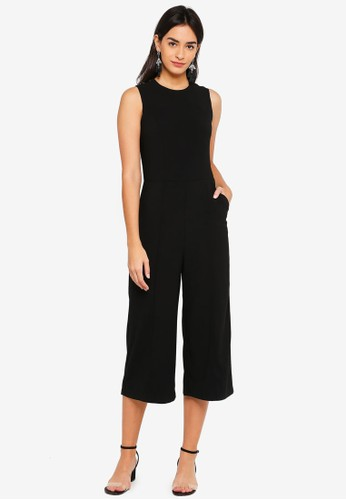 Metal Poppers Detail Jumpsuit - Black - ZALORA