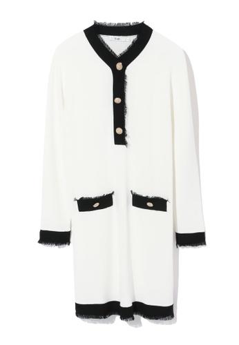 b+ab white Fringe hem button embellished knit dress 39569AAEC2D06FGS_1