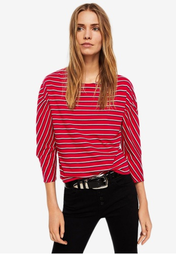 Mango red Striped Cotton T-Shirt EAC42AA44D41F3GS_1