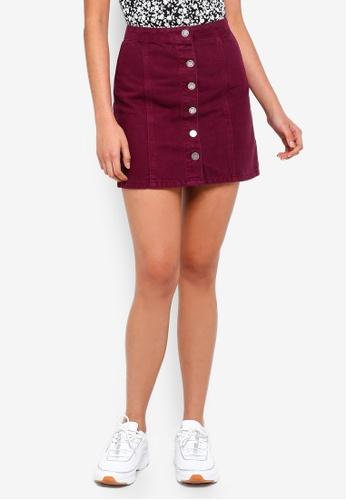 Miss Selfridge red Burgundy Button Through A-Line Denim Skirt  BBBEFAA7FCFA46GS 1 f0f26f70f84c