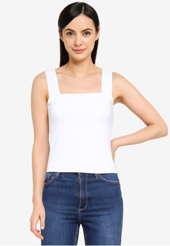 Abercrombie & Fitch white Seamless Square Neck Tank Top A5C8CAAE6B955DGS_1