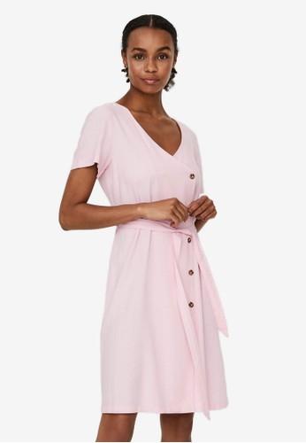 Vero Moda pink V-neck Mini Dress 2C88BAA5CD1C38GS_1