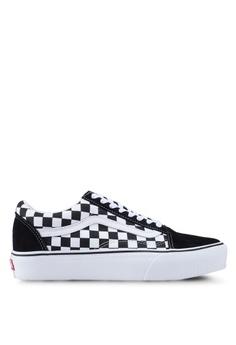 8c8ceeb47 VANS black Old Skool Platform Checkerboard Sneakers 30145SHC5EC6A0GS_1