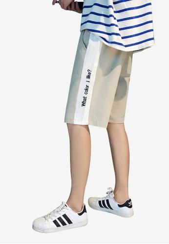 hk-ehunter 米褐色 男裝刺繡中腰短褲 CA618AA0F2CD2DGS_1