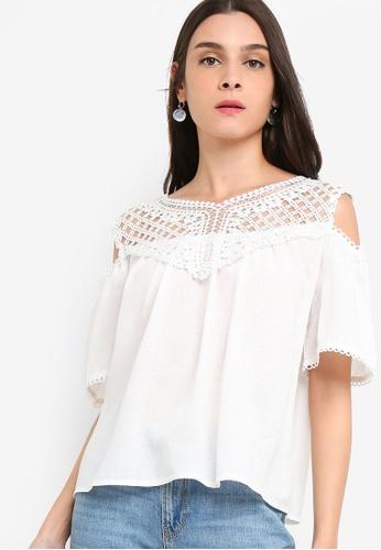 ZALORA white Cold Shoulder Lace Top 75A3FAA4C00BA0GS_1