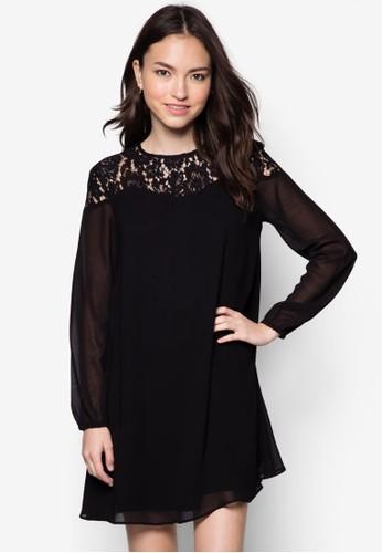 蕾絲拼接長袖洋裝, zalora 衣服評價服飾, 洋裝