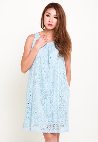 Leline Style blue Cleo Lace Swing Dress LE802AA27ANGSG_1