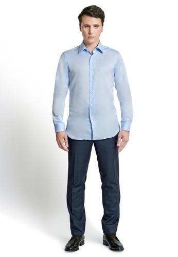 Gay Giano blue Classic Slim Fit Spread Collar Dress Shirt 183BAAAD5B43DBGS_1