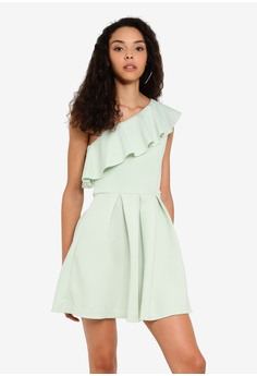 91dd5782540 Miss Selfridge green Mint Green One Shoulder Scuba Mini Dress  36A27AA641F2BFGS 1