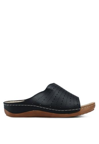 Bata 黑色 雕花楔型涼鞋 0515ESHEF34E40GS_1