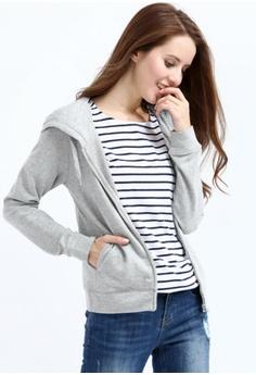 0242fc3c42 Yishion grey Grey Hooded Knit Zip Jacket YI173AA93YCOHK_1