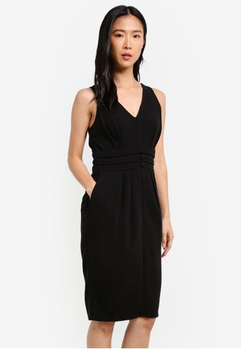 CLOSET black Fitted Waistband Dress CL919AA0S6H5MY_1