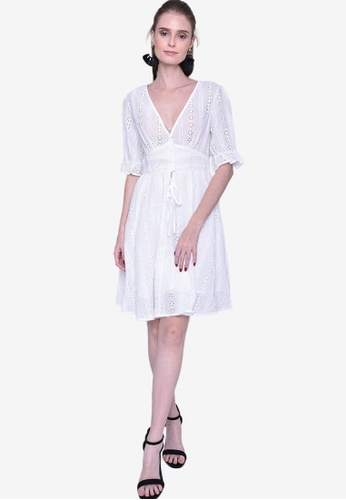 Caoros white Sheer 3/4 Sleeve Eyelet Dress 6B483AA8C62DA5GS_1