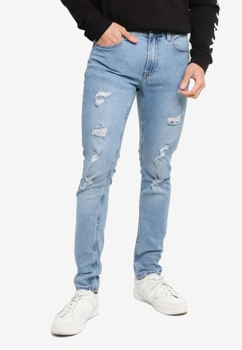 Only & Sons blue Warp Life Damage Blue Skinny Jeans 50C40AA1ED9679GS_1