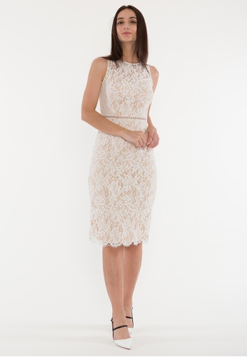 Plain B. white Plain B. Round Neck Sleeveless Evening Midi Dinner Dress With Lace&Lining F4BFCAAE8414D3GS_1