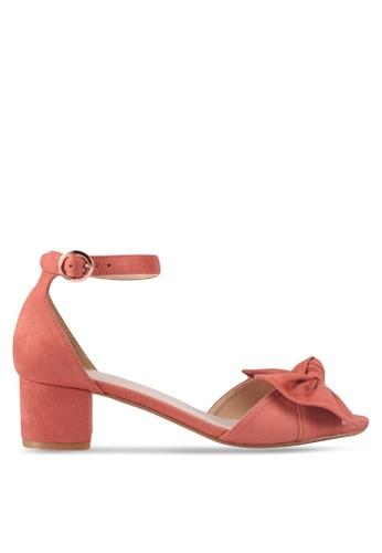 Velvet 粉紅色 繞踝蝴蝶結粗跟涼鞋 0A4DFSHB6F167CGS_1