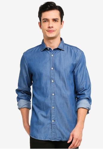 OVS blue Solid Colour Cotton Shirt 7B4C8AA92EE548GS_1