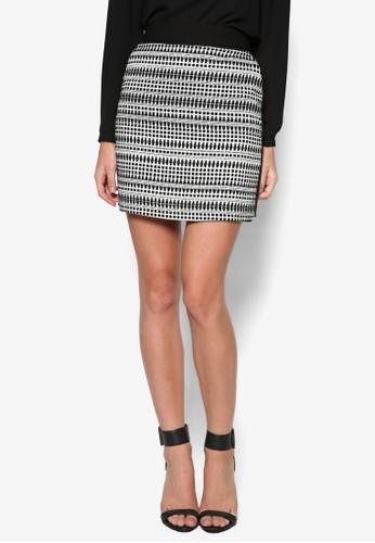 幾何斜紋短裙, 服飾, zalora 手錶 評價迷你裙