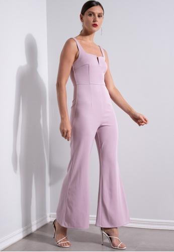 ZALORA OCCASION pink Front Notch Bustier Jumpsuit 51730AA6E8DBB2GS_1