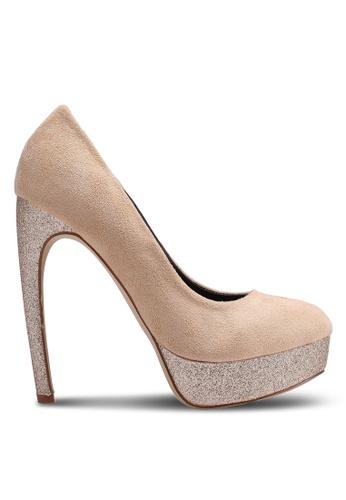 Nose 褐色 Suede Glitter Platform Heels 4AC15SHB94A351GS_1