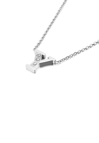 Glamorousky silver Fashion Personality English Alphabet Y 316L Stainless Steel Pendant with Cubic Zirconia and Necklace 0651EAC929DA8EGS_1