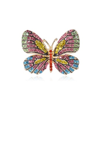 Glamorousky silver Fashion Bright Colorful Butterfly Brooch with Cubic Zirconia AAEC5AC1879F85GS_1