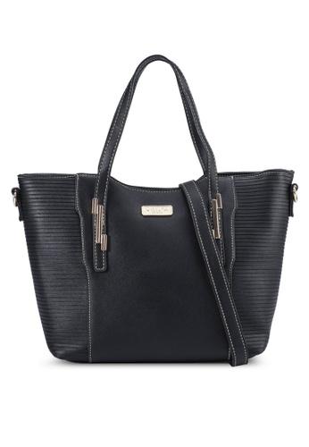 Unisa black Debossed Convertible Top Handle Bag 858E4AC465FC66GS_1