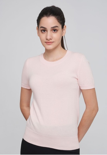 United Colors of Benetton pink Short Sleeve Cashmere Blend Sweater 92F9AAAC109317GS_1